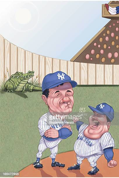 5 col x 145 in / 246x368 mm / 837x1253 pixels Ron Borresen color illustration of a New York Yankees baseball coach pointing to alligator in the...