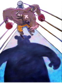 5 col x 145 inches/276x368 mm/940x1253 pixels Hector Casanova color illustration of a bull in the corner of a boxing ring with the shadow of a bear...