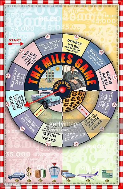 5 col x 15 in / 246x381 mm / 837x1296 pixels Philip Brooker color illustration of frequentflier miles gameboard with chances for bonus miles prizes...