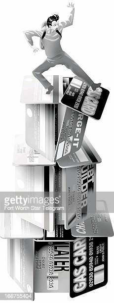 3 col x 1525 in / 146x387 mm / 497x1318 pixels Jim Atherton color illustration of a student falling off toppling house of credit cards