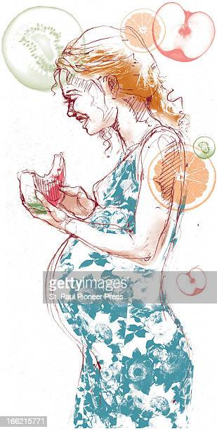 4 col x 1525 in / 196x387 mm / 667x1318 pixels Shannon Brady color illustration of pregnant woman eating watermelon slice and a variety of other...