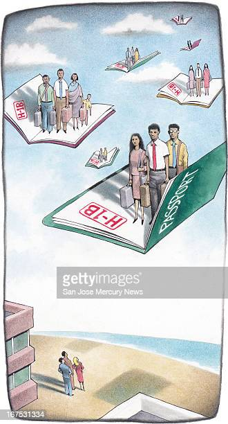 4 col x 16 inches/220x406 mm/749x1382 pixels Doug Griswold color illustration of groups of foreign workers carrying luggage fly in on passports with...