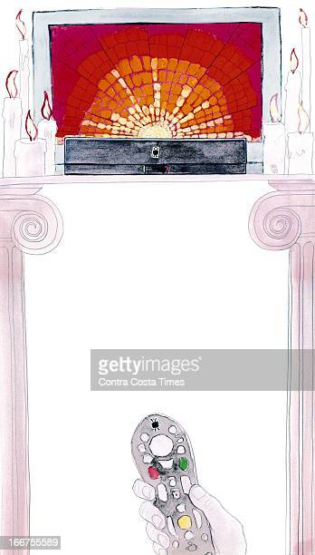 5 col x 17 in / 246x432 mm / 837x1469 pixels pixels Chuck Todd color illustration of a shrine to TiVoa digital video recorder