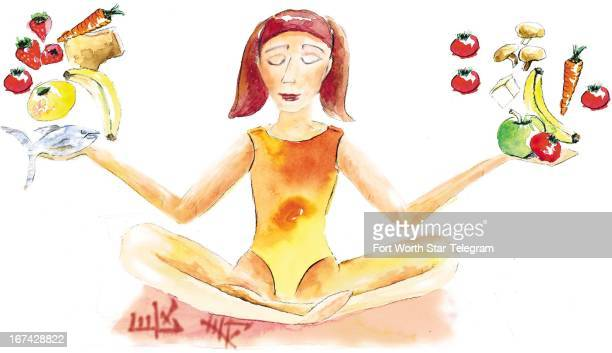 6 col x 175 in / 332x444 mm / 1130x1512 pixels Jackie Cook color illustration of woman meditating with fruits vegetables and fish in her outstretched...
