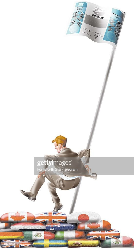 5 col x 18 in / 246x457 mm / 837x1555 pixels Jim Atherton color illustration of a businessman gingerly jumping over a wall of national flags...