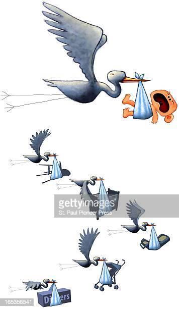 6 col x 20 in / 295x508 mm / 1004x1728 pixels Kirk Lyttle color illustration of a stork delivering a new baby and a flock of storks delivering...