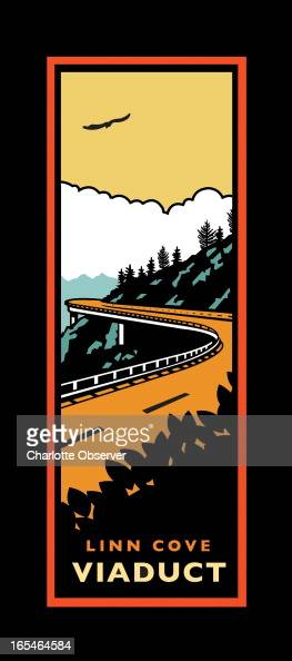 5 col x 22 in / 246x559 mm / 837x1901 pixels James Denk color illustration of a travel poster for Linn Cove Viaduct part of North Carolina's Blue...
