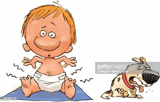 2 col x 24 in / 96x61 mm / 327x207 pixels Chris Ware color illustration of dog reacting to foul odor of baby's dirty diaper