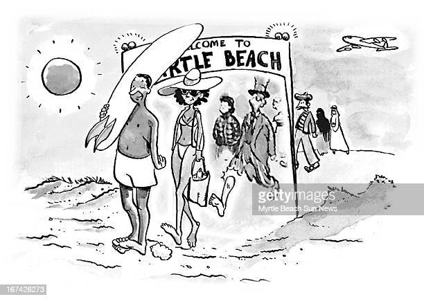2 col x 3 in / 108x76 mm / 368x259 pixels Jason Whitley black and white illustration of people from different countries walking onto Myrtle Beach As...