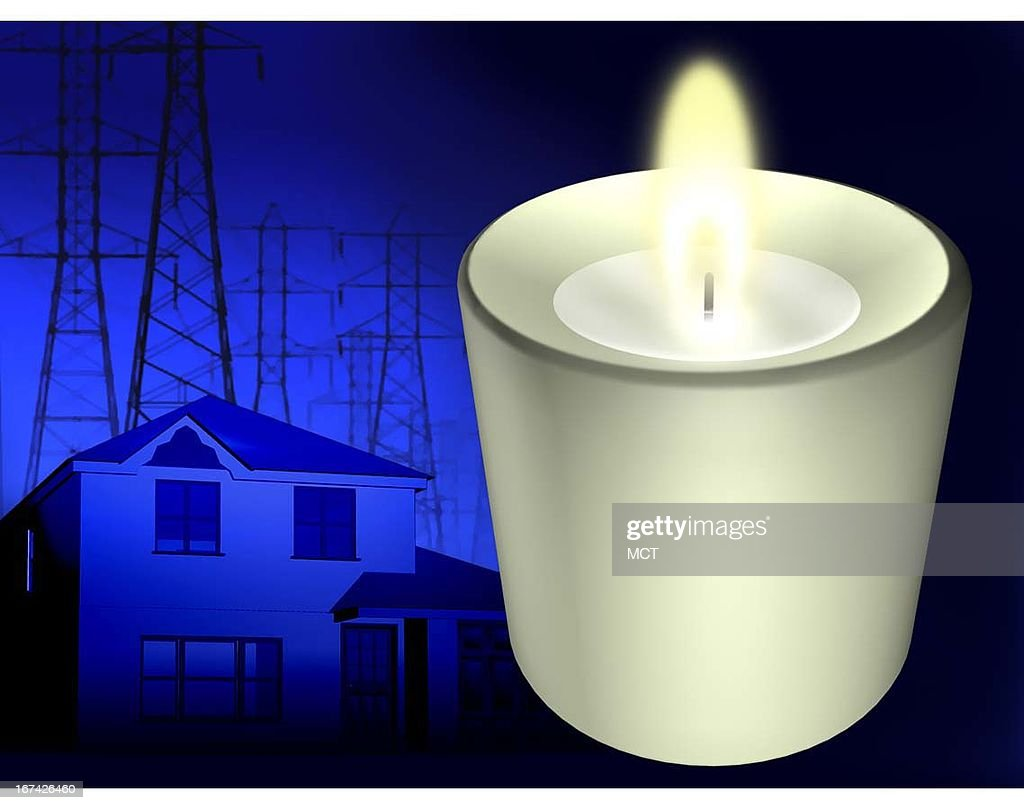2 col x 3 in / 96x76 mm / 327x259 pixels Kurt Strazdins color illustration of a burning candle with a darkened house and power lines in the background.