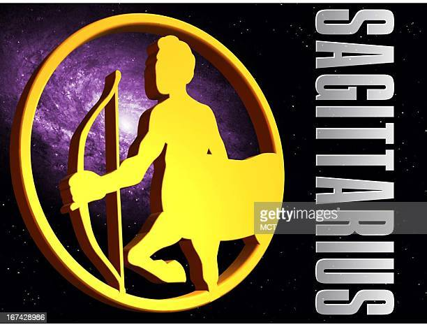 2 col x 325 in / 108x83 mm / 368x281 pixels Kurt Strazdins color illustration of the zodiac sign for Sagittarius the archer