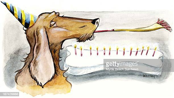 3 col x 325 in / 146x83 mm / 497x281 pixels Jason Whitley color illustration of a dog's birthday dog wears party hat and blows party favor next to a...