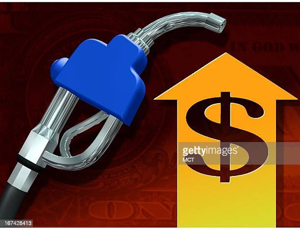 2 col x 325 inches/108x83 mm/368x281 pixels Kurt Strazdins color illustration of a fuel pump handle next to a rising arrow with dollar sign