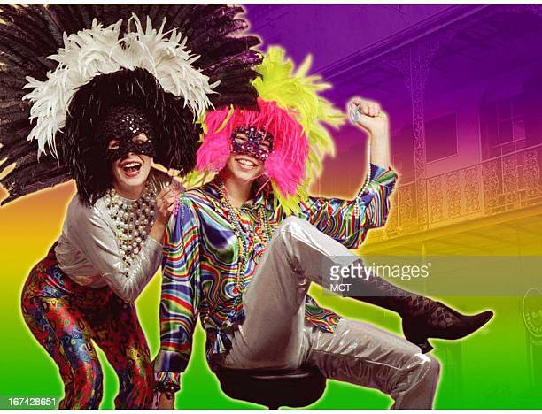 2 col x 325 inches/108x83 mm/368x281 pixels Kurt Strazdins color illustration of two Mardi Gras revelers dressed in elaborate feather masks and beads