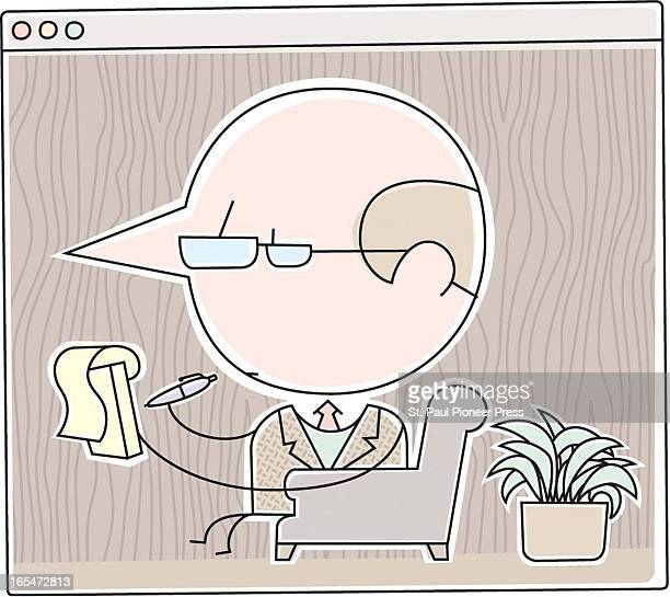 2 col x 34 in / 96x86 mm / 327x294 pixels David Steinlicht color illustration of a therapist or psychiatrist with a notepad in a Web browser window