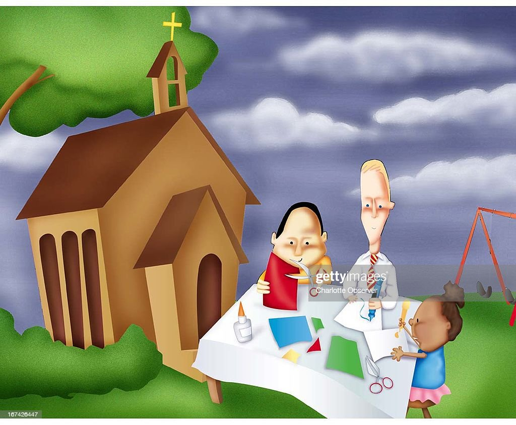 2 col x 3.5 in / 108x89 mm / 368x302 pixels Michelle Hazelwood color illustration of kids creating art with their teacher at summer Bible school. A church is in the background.