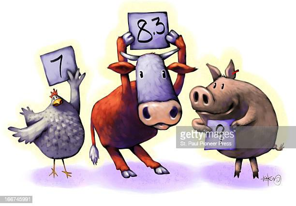 3 col x 4 in / 146x102 mm / 497x346 pixels Kirk Lyttle illustration on the fine art of barbecue judging chicken cow pit holding up rating signs