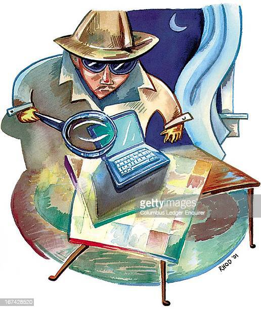 2 col x 45 in / 96x114 mm / 327x389 pixels Richard Hodges color illustration of a detective using a magnifying glass to investigate a laptop computer