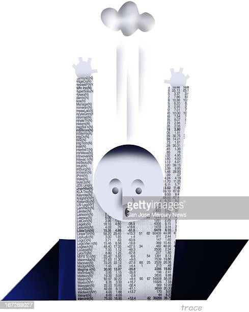 2 col x 475 in / 96x121 mm / 327x410 pixels Tracy Cox color illustration of man made out of newspaper stock listings with a dark cloud overhead...