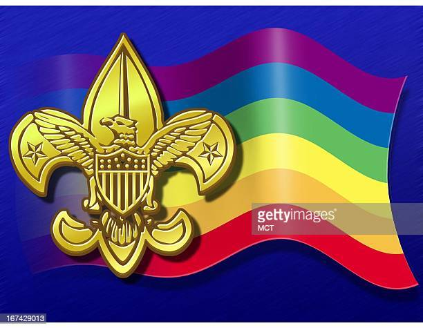 3 col x 5 inches/164x127 mm/558x432 pixels Kurt Strazdins color illustration of the Boy Scouts of America logo and a rainbow flag
