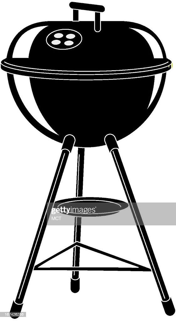 1.5 col x 5.25 in / 72x133 mm / 245x454 pixels Kurt Strazdins black and white illustration of an outdoor kettle-style grill.