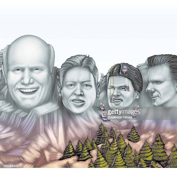 3 col x 55 in / 146x140 mm / 497x475 pixels Ron Borresen color illustration of Mt Rushmorelike carving with images of Super Bowl recordholders Terry...
