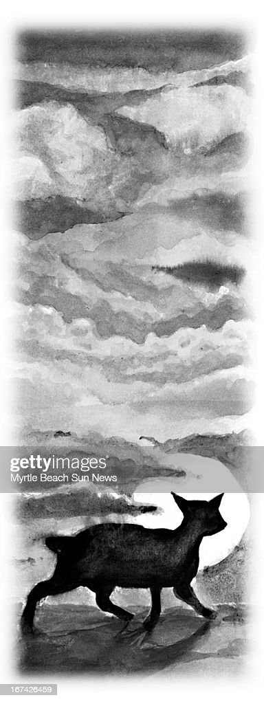 1 col x 5.5 in / 52x140 mm / 177x475 pixels Jason Whitley black and white illustration of a black cat and a full moon. (The Sun News (Myrtle Beach, S.C.)/MCT via Getty Images)
