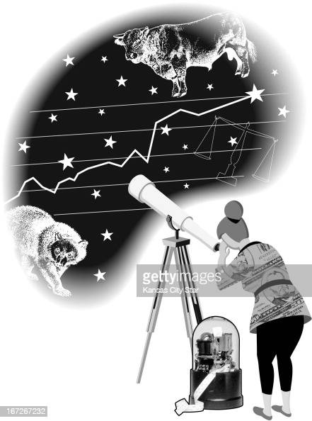 3 col x 575 in / 146x146 mm / 497x497 pixels Gentry Mullen blackandwhite illustration of woman looking through a telescope into the night sky to see...