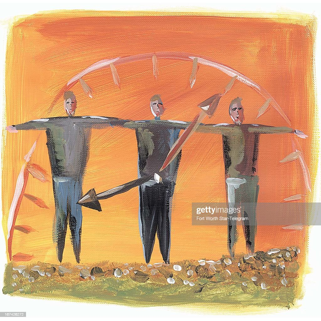 3 col x 5.75 in / 146x146 mm / 497x497 pixels Jennifer Hart color illustration of three men standing arm-to-arm within the face of a clock.