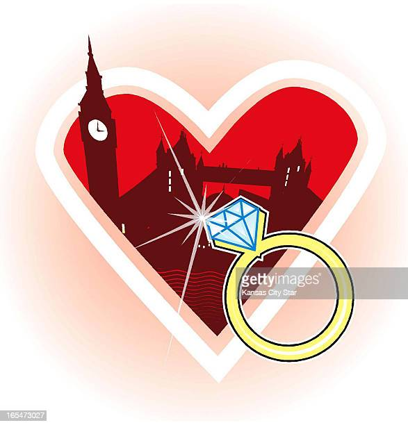 3 col x 6 in / 146x152 mm / 497x518 pixels Noah Musser color illustration of diamond engagement ring and silhouette of London within a heart