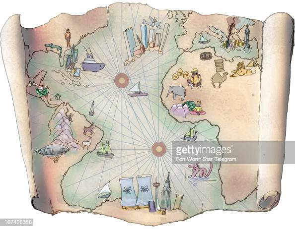 4 col x 6 in / 196x152 mm / 667x518 pixels Jim Atherton color illustration of an oldworld style world map of the lost city of Atlantis