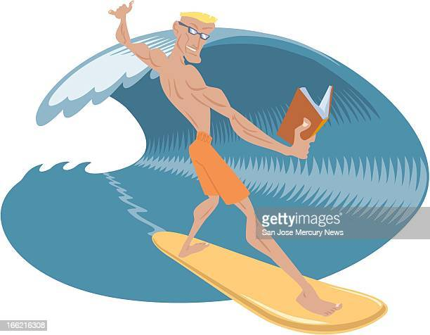 4 col x 6 in / 196x152 mm / 667x518 pixels Rob Hernandez color illustration of a surfer with a book in his hand represents summer reading