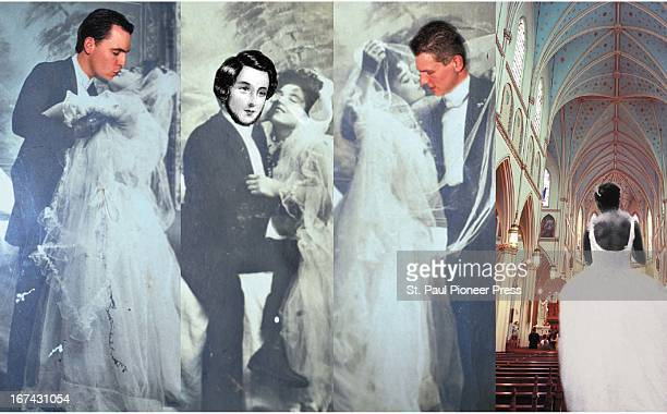 5 col x 6 in / 246x152 mm / 837x518 pixels Ellen Simonson color photo illustration of kissing and embracing brides and grooms and a bride walking...