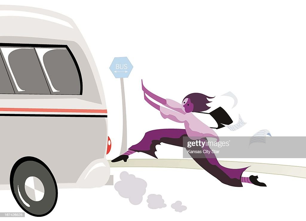 4 col x 6.25 in / 220x159 mm / 749x540 pixels Michelle Arcand color illustration of woman running after a moving bus.
