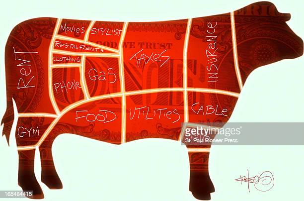 5 col x 64 in / 246x163 mm / 837x553 pixels Kirk Lyttle color illustration of cuts of beef on a cow labeled as family budget items rent gas food...