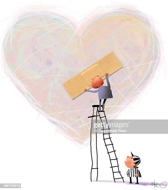 3 col x 65 in / 146x165 mm / 497x562 pixels Kirk Lyttle color illustration of guy standing on ladder to place a bandaid over a broken heart while a...