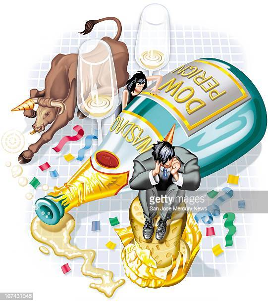 3 col x 65 in / 146x165 mm / 497x562 pixels Steve Lopez color illustration of the aftermath of the dotcom boom shows exhausted traders and a bull...