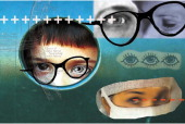 5 col x 65 in / 246x165 mm / 837x562 pixels Ellen Simonson color photo illustration of eyes and vision includes people wearing glasses and drawing of...