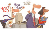 6 col x 7 in / 295x178 mm / 1004x605 pixels Chris Ware color illustration of office workers preoccupied with NCAA tournament a boss misidentifies an...
