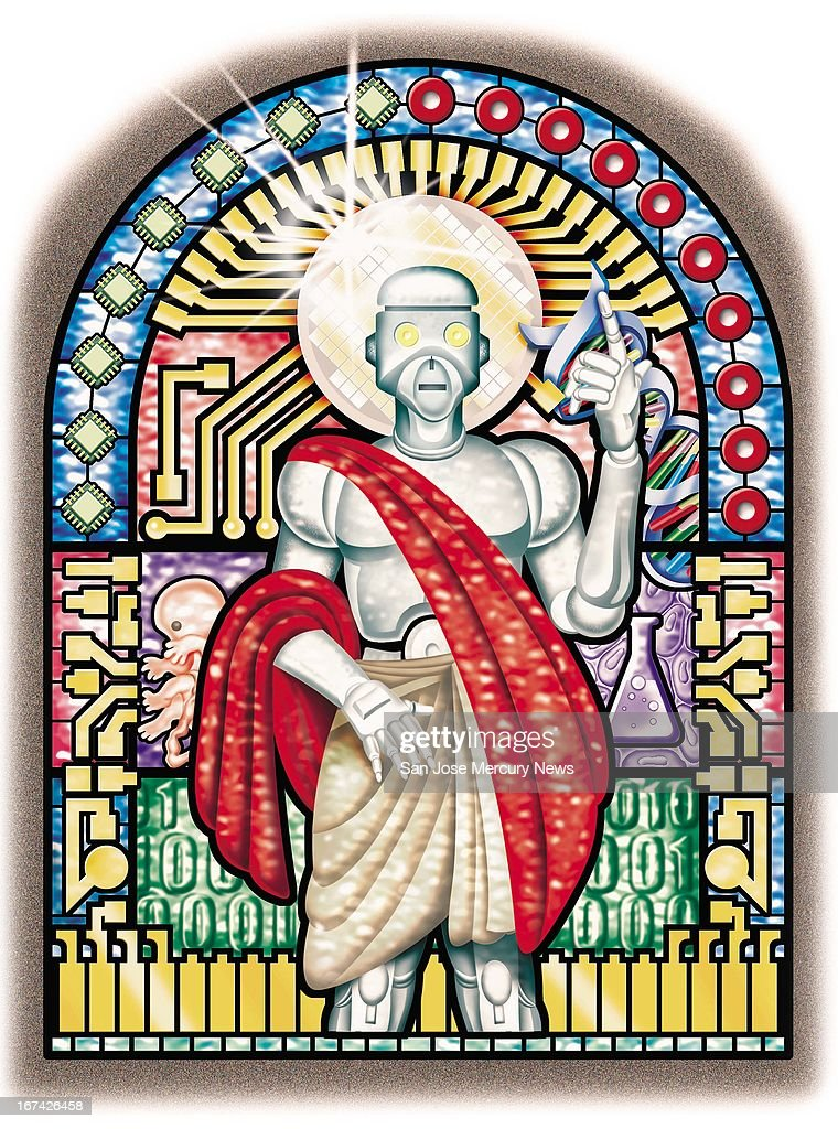 3 col x 7.75 in / 146x197 mm / 497x670 pixels Steve Lopez color illustration of a stained-glass window with a robot saint surrounded by DNA, an embryo, beaker and hi-tech imagery.