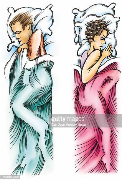 3 col x 85 in / 146x216 mm / 497x734 pixels Wes Killingbeck color illustration of a couple in bed sleeping back to back and separated