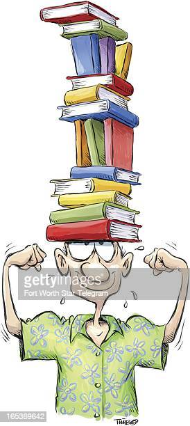 2 col x 85 in / 96x216 mm / 327x734 pixels Tim Bedison color illustration of summer reader flexing arms and lifting tall stack of books on head