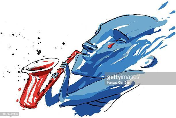 6 col x 875 in / 332x222 mm / 1130x756 pixels Hector Casanova color illustration of a blue musician with red tear coming out of his eye blowing on...