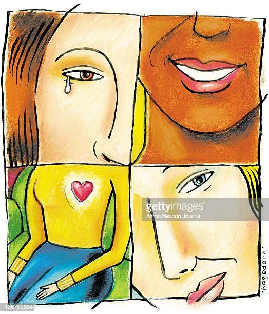 4 col x 9 in / 196x229 mm / 667x778 pixels Kathy Hagedorn color illustration of someone's loving heart surrounded by faces of three friends