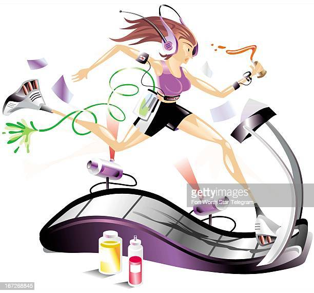 5 col x 9 in / 246x229 mm / 837x778 pixels Dave Seymour color illustration of a woman running on a treadmill while attached to a heart monitor and...