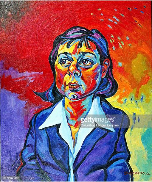 4 col x 925 in / 196x235 mm / 667x799 pixels Don Coker color illustration of American author Carson McCullers whose works include 'The Heart is a...