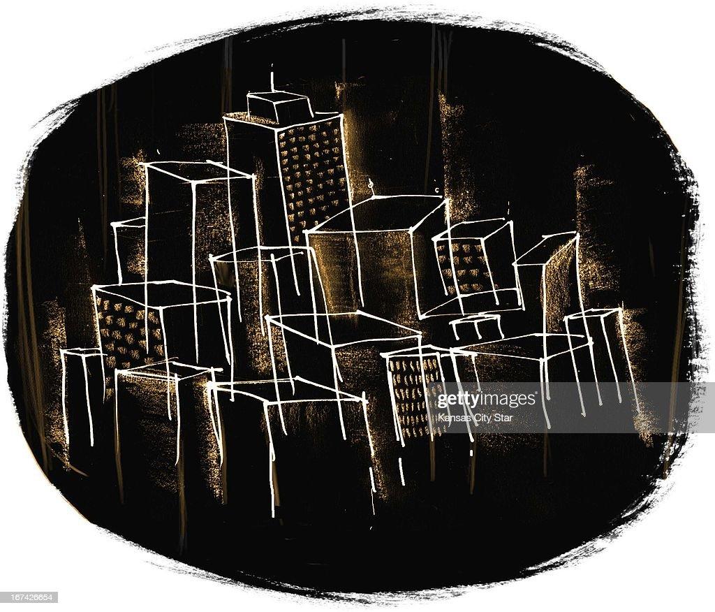 5 col x 9.25 in / 276x235 mm / 940x799 pixels Hector Casanova color illustration of a dark cityscape.