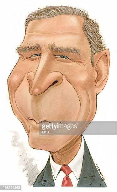 3 col x 95 in / 146x241 mm / 497x821 pixels Chris Ware color caricature of President George W Bush