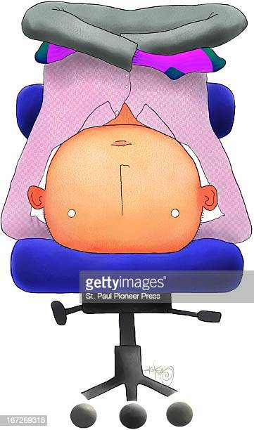 3 col x 975 in / 146x248 mm / 497x842 pixels Kirk Lyttle color illustration of man in Yoga headstand pose in his office chair