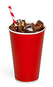 Cola with straw in take away cup on white background